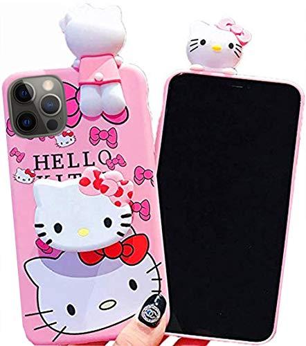 3D Hello Kitty Schutzhülle aus weichem Silikon, stoßfest, mit Trageband & Ständer für die Hand, Estuche F&as Cobertor (iPhone 12 Pro Max 6,7 Zoll)