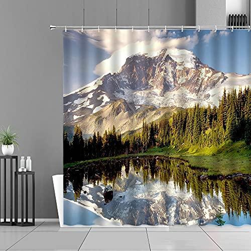 XCBN Duschvorhänge Natürliche Landschaft 3D-Druck Landschaft wasserdichte Badezimmer Vorhang Badewanne Bildschirme Wohnkultur A2 150x180cm