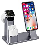 3 in 1 Ladestation Kompatibel mit Apple Watch Series 4/3/2/1, Aluminum Ständer für Apple Watch...