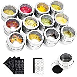 Stainless Steel Spice Tins Magnetic Spice Jars, Set of 12 Spice Storage Container Clear Lid Sift or Pour, Multi-Purpose Storage Tins with Window Top, Magnetic on Refrigerators or Grill