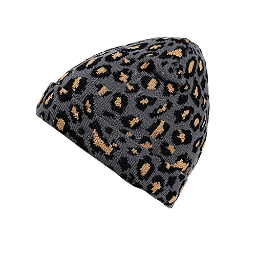 Kolylong® Unisex Erwachsene Mütze Mode Leopard Muster Strickmütze Damen Herren Outdoor Warm Wintermütze Verdicken Wollmütze Bommelmütze Skimütze Hut Cap 55-60cm
