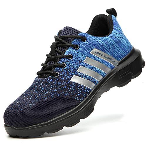 TimGoss Zapatos de Seguridad Hombre Zapatillas de Trabajo con Punta de Acero Ligera Transpirables,Zapatos de Industria y Construcción 1125 Blue 39