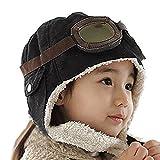 Butterme bébé Enfants Filles Garçons Pilot Aviator Chapeaux avec Cache-Oreilles Cool Mode Chapeaux d'hiver Beanie Casquette