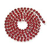 AUBERSIT 5 Yardas/Paquete Base de Astilla, Cadena de Copa de Diamantes de imitación de Cristal Rojo, Ropa de Bricolaje, Accesorios para Vestidos de Novia, Rojo, ss12 3.0 mm