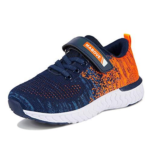 Laufschuhe Kinder Jungen Mädchen Sportschuhe Atmungsaktiv Leicht Turnschuhe Klettverschluss Outdoor Fitnessschuhe Sneakers für Gym Indoor Unisex-Kinder(Orange.YF644,28 EU,Schuhgröße 29)