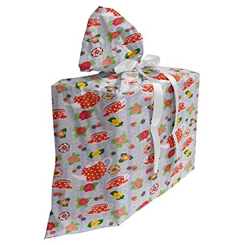 ABAKUHAUS Dibujos animados Bolsa de Regalo para Baby Shower, Ollas de té Rosas de dibujos animados, Tela Estampada con 3 Moños Reutilizable, 70 cm x 80 cm, Multicolor