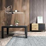 Mc Haus TROTTER - Mesa Comedor Madera Natural Negro salon, Mesa cocina oficina de Diseño Rectangular con patas de madera 160x90x75cm