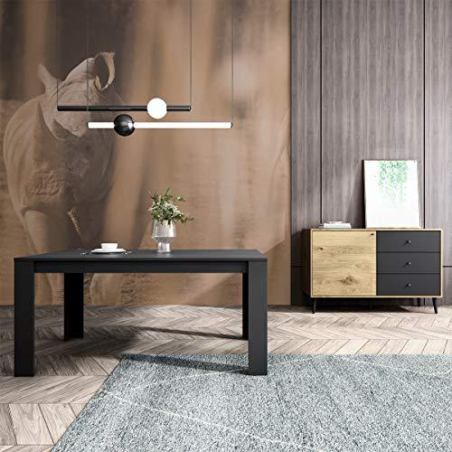 Mc Haus TROTTER - Mesa Comedor Madera Natural Negro salon, Mesa cocina oficina de Diseno Rectangular con patas de madera 160x90x75cm