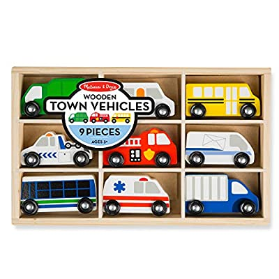 Melissa & Doug Wooden Town Vehicles Set in Wooden Tray (9 pcs) from Melissa and Doug