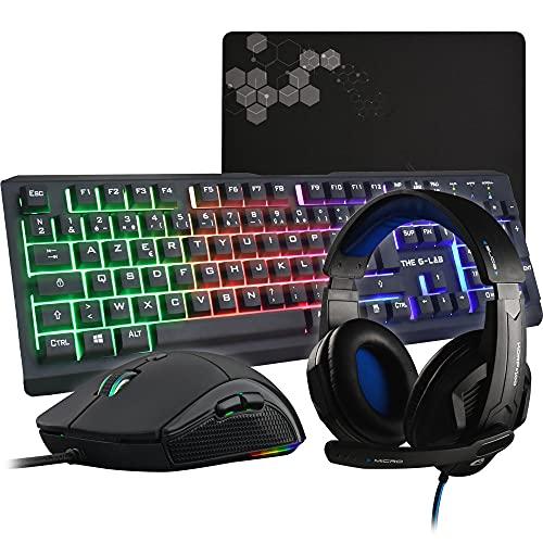 The G-Lab Combo Selenium - Ensemble Gaming 4 en 1 - Clavier Gamer AZERTY Rétroéclairé, Souris Gamer 3200 DPI, Micro Casque Gaming, Tapis de Souris antidérapant - Pack Gamer PC PS4 Xbox One