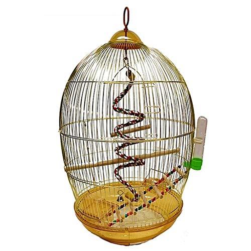 Jaula De Pájaros con Caja De Comida Jaula De Pájaros Portátil Jaula De Pájaros Al Aire Libre Jaula De Boutique Ornamental Dorada Galvanizada con Peonía De Metal Grande (Color : Gold, Size : 76cm)