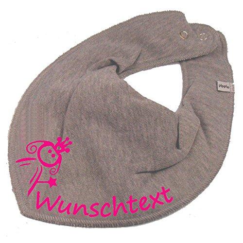 Elefantasie Elefantasie HALSTUCH PRINZESSIN mit Namen oder Text personalisiert grau für Baby oder Kind