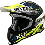 KYT casco Moto Cross off-road Strike Eagle, Web Matt White/Blue, talla L, 59–60cm