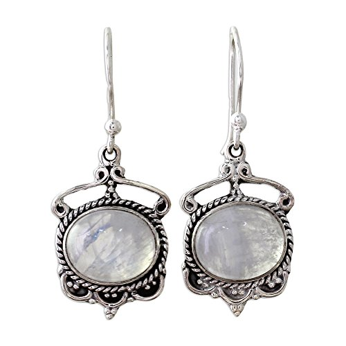 NOVICA Oval Rainbow Moonstone .925 Sterling Silver Dangle Earrings, Moonlit Decadence'