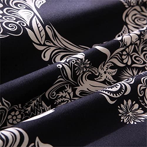 Heqianqian Tagesdecke, dunkelblau, reine Baumwolle, Taft, gestreift, bedruckte Bettwäsche-Sets für alle Jahreszeiten.