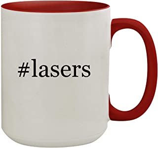 #lasers - 15oz Hashtag Colored Inner & Handle Ceramic Coffee Mug, Red