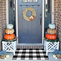 Lifei Farmhouse Doormat Buffalo Plaid Check Outdoor Rug