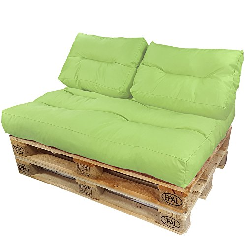 DILUMA Coussins pour Canape Euro Palette Lounge - Créez Un élégant Sofa en Palette résistante aux éclaboussures (Pas Un Ensemble!), Variable:2 Coussins de Dossier 60 x 40 cm, Couleur:Citron
