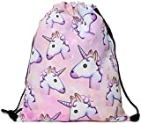 Lawenp Plegable Men's Women's Print Shoulder Drawstring Bag Backpack String Bags School Rucksack Gym Handbag (Animals,Foods) 15'x11'