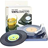 Funny Retro Vinyl Record Coasters for Drinks with Vinyl Record Player Holder for Music Lovers,Set of...