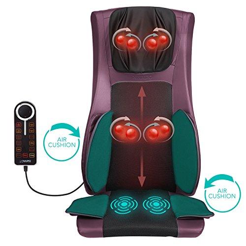 Naipo Massagesitzauflage Rücken Massagegerät massagekissen mit Wärme Luftkompression Vibration und Überhitzungsschutz für ultimative Stress Relief von Hals Rücken Oberschenkel und Hüften-Lila