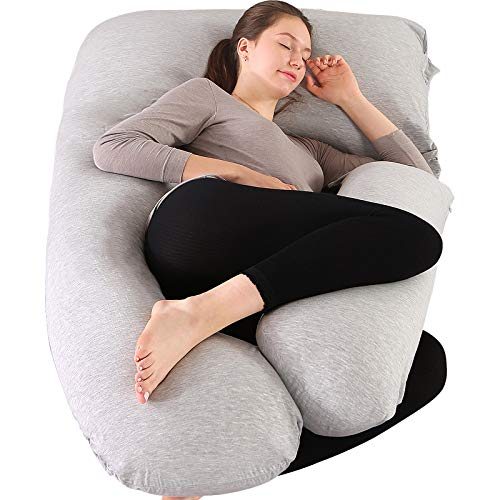 """Elover Pregnancy Pillow U-Shaped Full Body Maternity Support Pillow for Pregnant Women with Support Detachable Extension Size 57"""" (Gray, Jersey)"""
