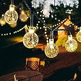50 Led Lichterkette Solar Außen, 10 M 8 Modi Beleuchtung Solarlichterkette mit Wasserdicht Lichtsensor Kristall Kugel warmweiß Solarlampe Deko für Garten Party Hochzeite Weihnachten