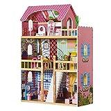 Mobili per la casa delle bambole in legno con accessori, grande set di 3 piani per bambole da 30 cm, rosa