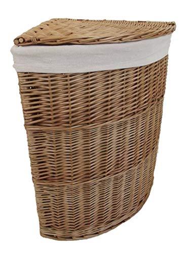 Wasmand, met uitneembare voering, voor de hoeken, gevlochten rieten mand, middelgrootte, natuurlijke kleuren