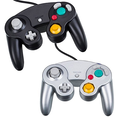 CaaWoo Remote Control Gamepad Joystick Gaming Joypad per Nintendo Gamecube GC e Wii (Nero + Bianco)