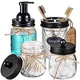 Mason Jar - Juego de 4 accesorios de baño, dispensador de jabón espumoso y 2 soportes Qtip y soporte para cepillo de dientes, organizador de baño, tarro de boticario para encimera, color negro