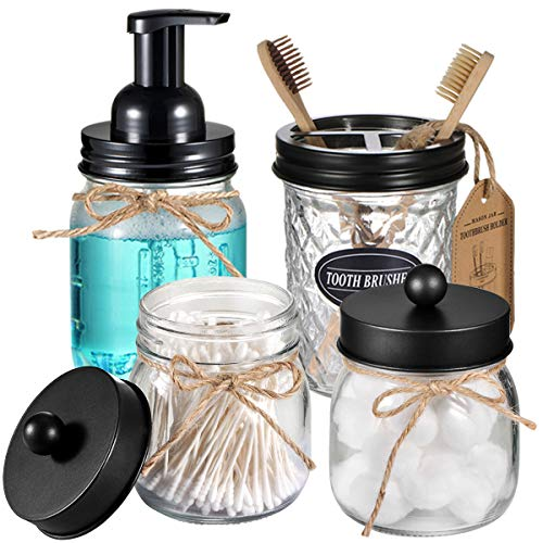 Mason Jar Bathroom Accessories Set 4 Pack - Foaming Soap Dispenser&2 Qtip Holders&Toothbrush Holder-Rustic Farmhouse Decor Bathroom Organizer Apothecary Jar Country Countertop (Black)