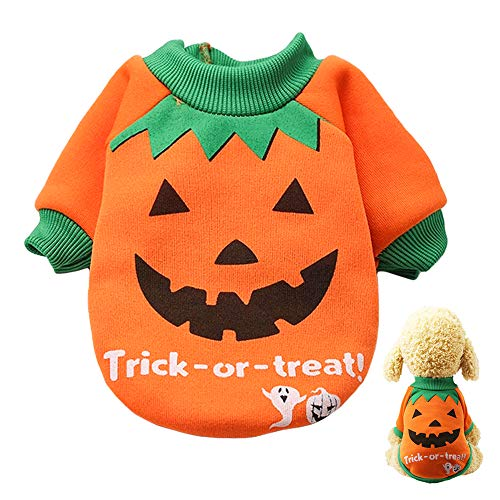 Lifreer disfraz de Halloween para perro, ropa de mascota, disfraz de calabaza de Halloween, fiesta de Pascua