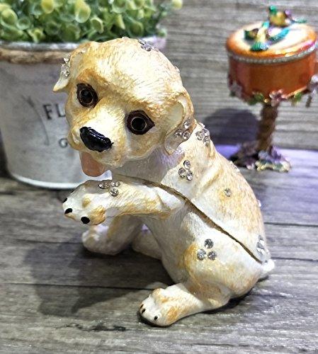 2018Newest perro Trinket Box perro Joyería Caja Con Cristales esmalte perro Caja de recuerdos
