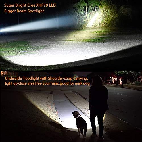 Super Bright Handheld Led Spotlight Flashlight Powerful Searchlight USB Rechargeable Large 4 Battery 10000mah Long Lasting High 6000 Lumens Plus Lantern Power Bank Portable Camping Emergency Light