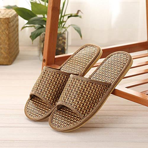 B/H Zapatos de Casa Interior Suave Algodón Zapatilla,Zapatillas de Mimbre de bambú,Sandalias Antideslizantes para Parejas de Interior en casa-Color primario_39-40
