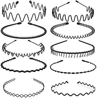 10 pezzi Cerchietto per Capelli, Fasce per Capelli in Metallo Nero per Donne e Uomini, Cerchietto per Capelli Uomo Wave da...