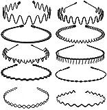 10 pezzi Cerchietto per Capelli, Fasce per Capelli in Metallo Nero per Donne e Uomini, Cerchietto per Capelli Uomo Wave da Antiscivolo Copricapo alla Moda Sportivo