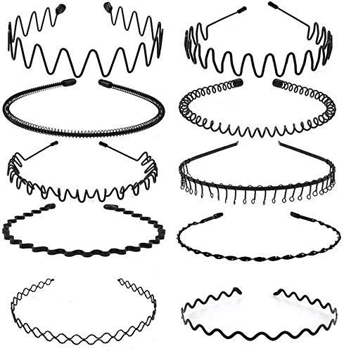 10 Pcs Multi-Style Métal Cerceau De Cheveux, Élastique Ondulés Spring Wave Bandeau Cheveux Homme,Noir Antidérapant Sport Unisexe Serre Tete Accessoires pour Femmes et Hommes