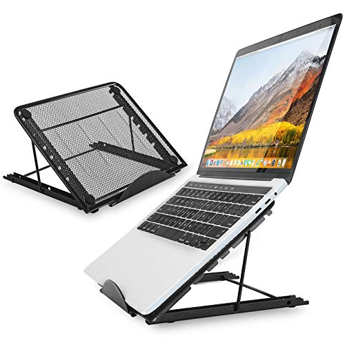 """defway Portable Adjustable Laptop Stand - 6 Adjustable Angle Ergonomic Laptop Holder Compatible with MacBook Air Pro, Dell XPS, HP, Lenovo, Most 10-17"""" Laptops, Black"""