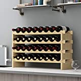 sogesfurniture Botellero de Madera para 32 Botellas de Vino con 4 Niveles, Soporte para Botellero Estante de Vino para Estantería de Presentación de Cocina y Barra, BHEU-BY-WS4832M