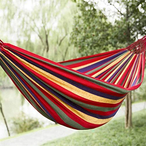 De Single-person Canvas Hangmat Camping hangstoel Slaapkamermeubels Kids Swing Chair Blauw Wit (Color : B)