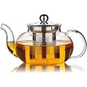 Hiware Glass Teapot with Removable Stainless Steel Lid & Infuser, 33 Ounce Teapot Stove Top Safe for Blooming & Loose Leaf