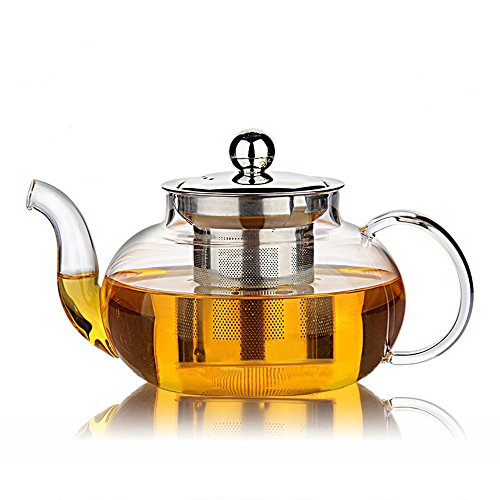 Hiware Glass Teapot with Removable Stainless Steel Lid & Infuser