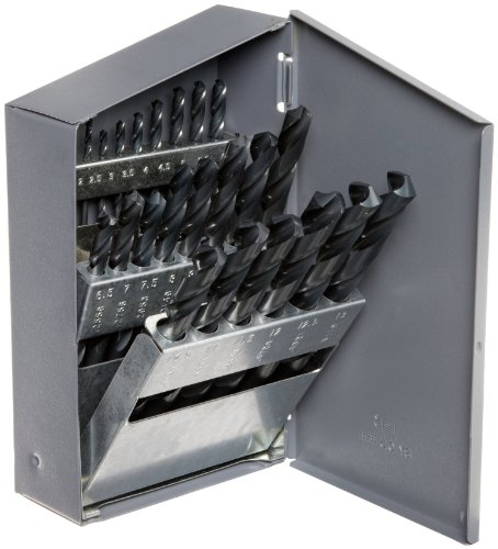 Chicago Latrobe 57725 150 Series High-Speed Steel Jobber Length Drill Bit Set with Metal Case, Black Oxide Finish, 118 Degree Conventional Point, Metric, 25-piece, 1.0mm - 13.0mm in 0.5mm increments