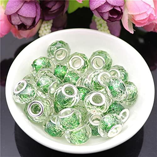 YSJJNDH Lampwork Glasperlen 50 stücke Schnitt Facettierte Glitter Pulver Kristall DIY Glasperlen Für Herstellung von Wulst Fit Charms Rundes Originalarmband (Color : Green)