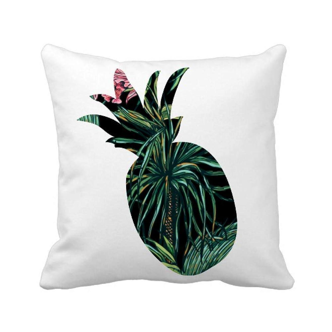 不快公演バイナリ花の植物の葉の暗い空 パイナップル枕カバー正方形を投げる 50cm x 50cm