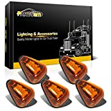 Partsam 5pcs Amber Lens Yellow LED Cab Roof Top Marker Lamps Running Lights Assembly Compatible with F250 F350 F450 F550 1999-2016/E350 E450 2017 2018 Super Duty Pickup Truck