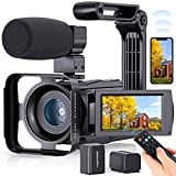 4K WiFi Video Camera FamBrow Camcorder for Youtube 48.0MP Vlogging Camera IR Night Vision 3.0 Inch 270° Rotatable 16X Digital Zoom with Microphone Handheld Stabilizer Lens Hood
