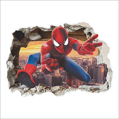 GOGR 3D Anime Spiderman Wand Aufkleber Wohnzimmer Kinder Schlafzimmer Dekoration Wand Aufkleber 50 * 70cm